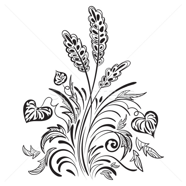 Patroon swirl decoratief bladeren gras Stockfoto © heliburcka
