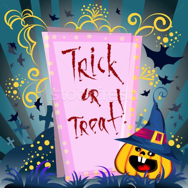 Zdjęcia stock: Plakat · halloween · dzień · dynia · trawy · grobu