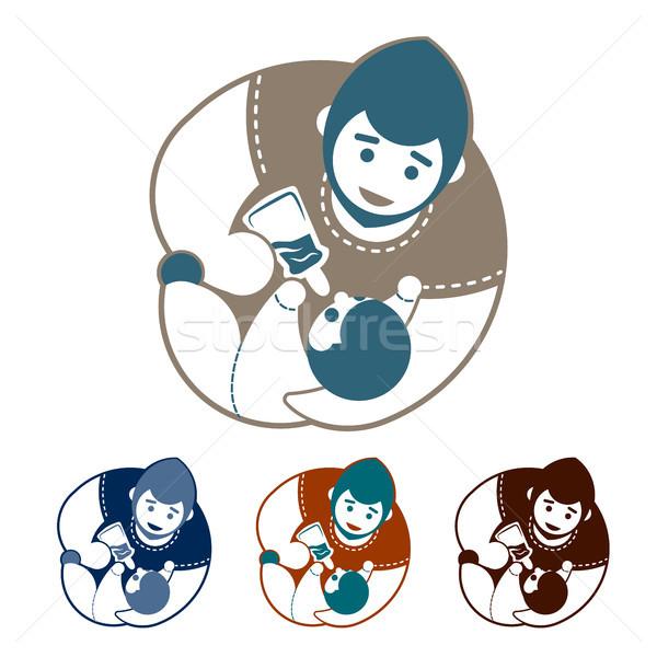 Zdjęcia stock: Zestaw · ojciec · baby · logo · butelki · cztery