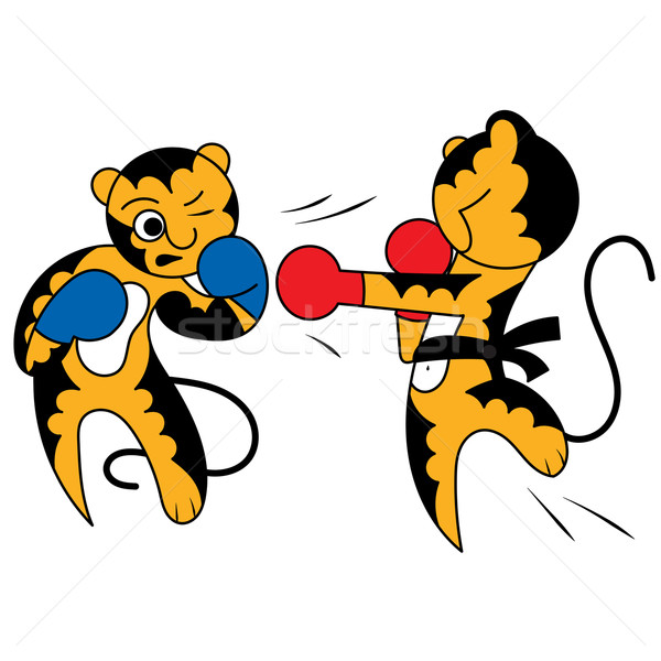 Vector cartoon two tiger cub cute young martial arts Stock photo © heliburcka