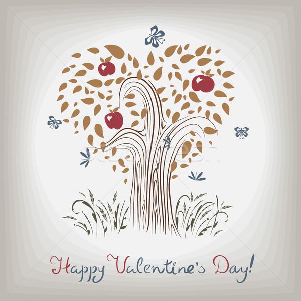 Elegante patroon kaart valentijnsdag bloemen Stockfoto © heliburcka