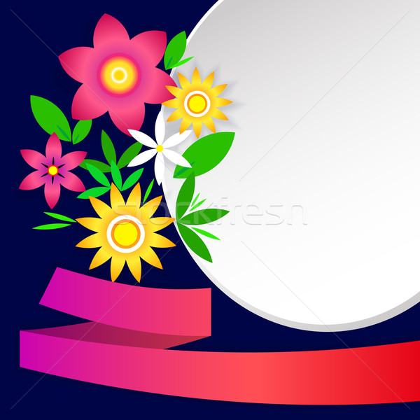 Kaart eenvoudige bloemen frames lint ontwerp Stockfoto © heliburcka