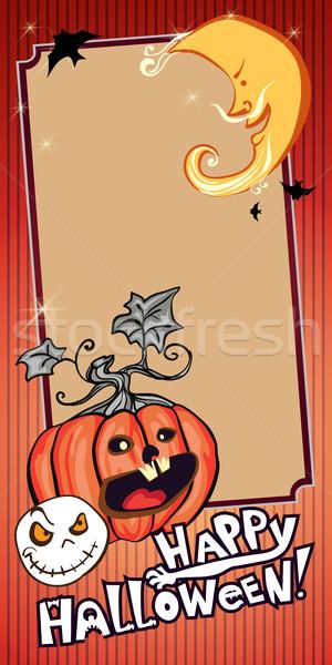 Halloween banner oranje ontwerp ticket uitnodiging Stockfoto © heliburcka