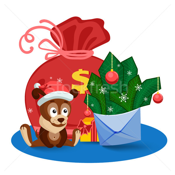 A puppy, a bag, gifts and an envelope with fir branches and bolls in front of the big bag. Stock photo © heliburcka
