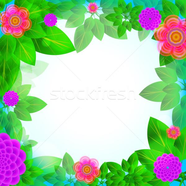 Bladeren bloemen frame wenskaart kleurrijk bloem Stockfoto © heliburcka