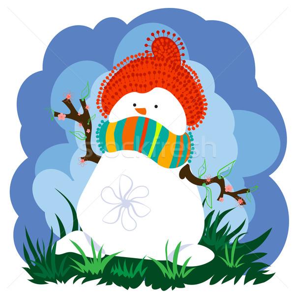 Sneeuwpop voorjaar wolken hoed sjaal Stockfoto © heliburcka