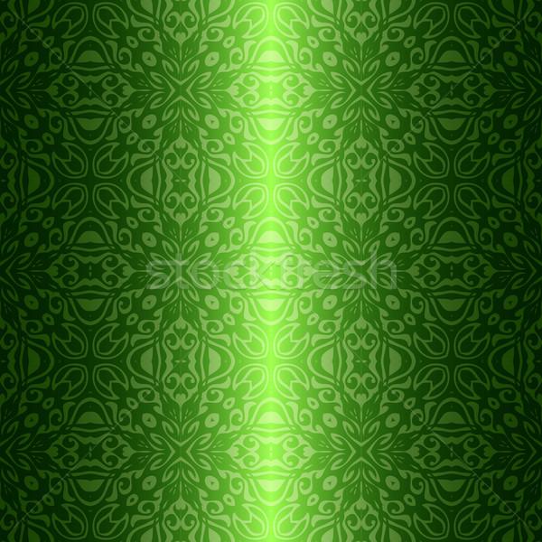 дамаст Vintage цветочный зеленый текстуры Сток-фото © heliburcka