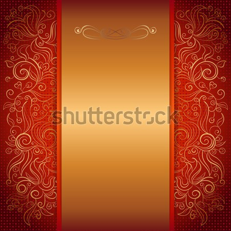 brown with gold damask pattern royal invitation card Stock photo © heliburcka