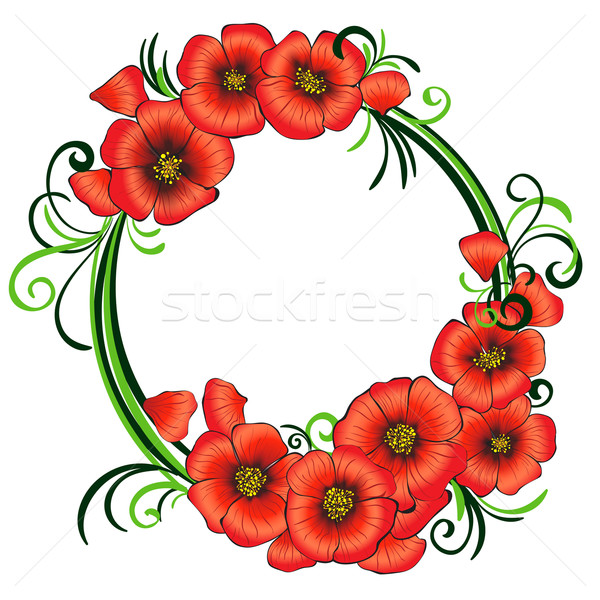 Floral frame with red poppies and green swirls. Stock photo © heliburcka