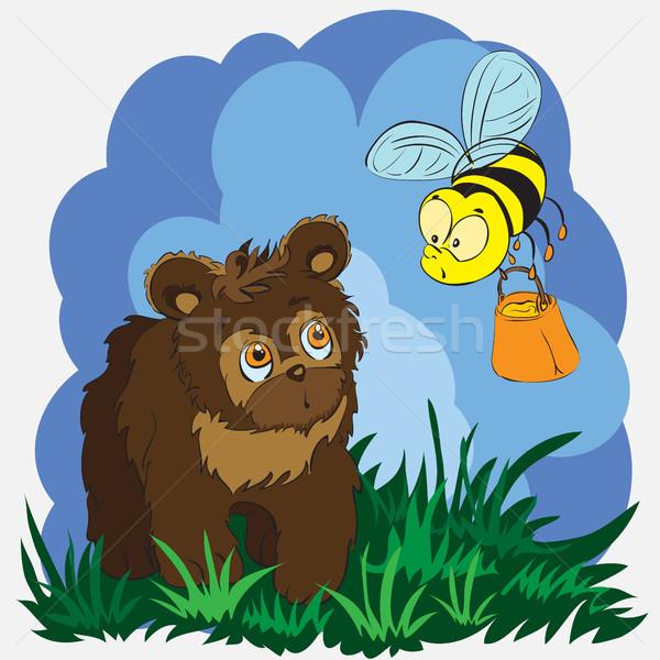 Mooie kaart weinig beer bee bruine beer Stockfoto © heliburcka