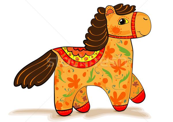 Zdjęcia stock: Pomarańczowy · konia · statuetka · dekoracyjny · malowany · biały