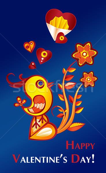 Valentijn dag illustratie kip bloemen hart Stockfoto © heliburcka