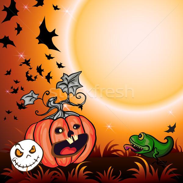 Halloween buli illusztráció sütőtök fű szellem Stock fotó © heliburcka