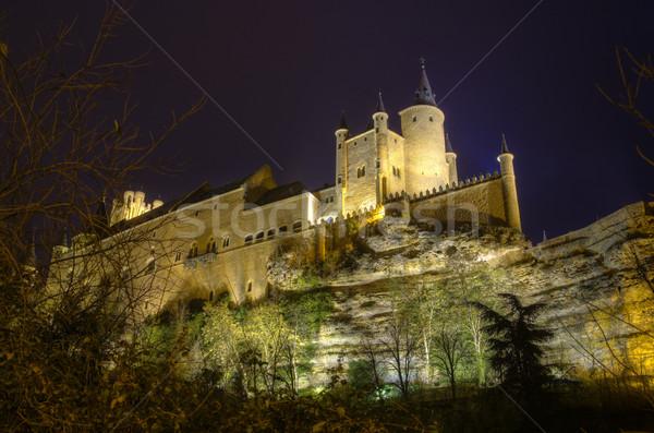 замок ночь древних королевский дворец Испания Сток-фото © HERRAEZ