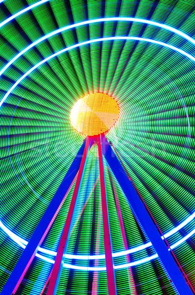 Beautiful Long exposure picture of a ferris wheel rotating, vivid colors. Stock photo © HERRAEZ