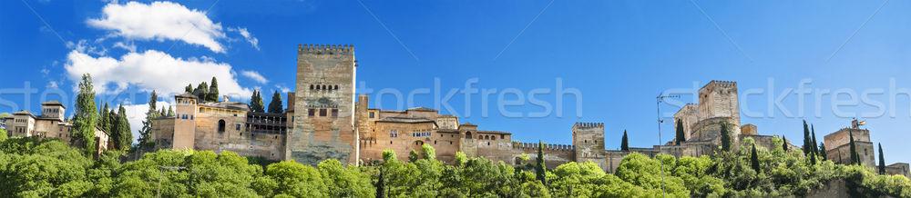 Панорама известный Альгамбра дворец Испания строительство Сток-фото © HERRAEZ
