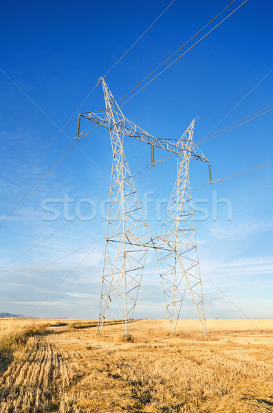 Stock photo: Beautiful landscape of a Power line and a a harvest meadow at down.