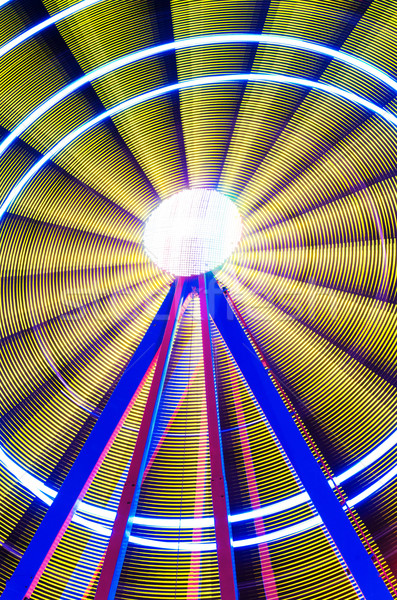 Beautiful Long exposure picture of a ferris wheel rotating, vivid colors. Stock photo © HERRAEZ