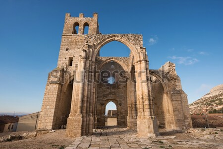 Ruins of an old church destroyed during the spanish civil war in Belchite, Saragossa, Spain. Stock photo © HERRAEZ