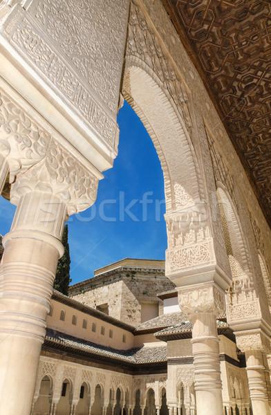 Részlet híres Alhambra palota Spanyolország textúra Stock fotó © HERRAEZ