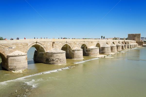 Romana ponte fiume blu luminoso cielo Foto d'archivio © HERRAEZ