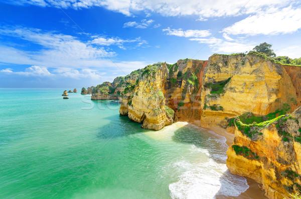 идиллический пляж пейзаж Португалия небе природы Сток-фото © HERRAEZ