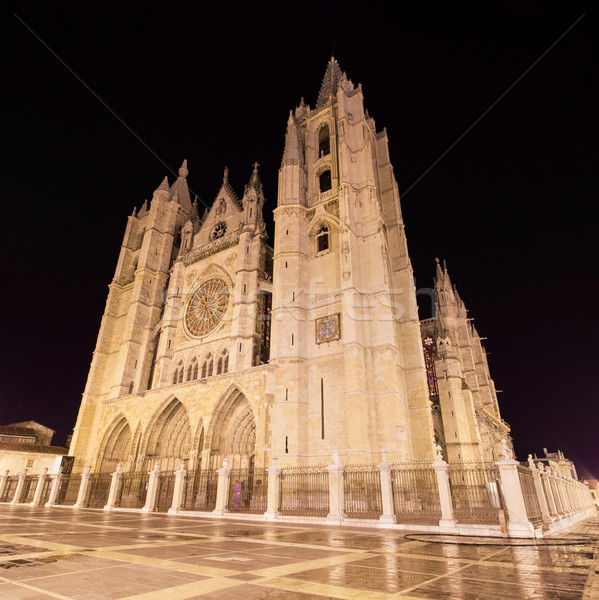 Leon cathedral at night, Leon, Spain. Stock photo © HERRAEZ