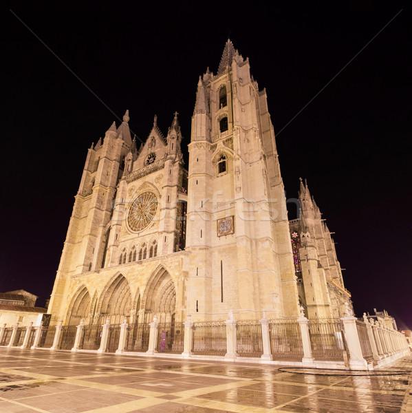 Cattedrale notte Spagna panorama buio statua Foto d'archivio © HERRAEZ