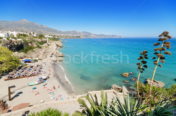 Nerja beach, famous touristic town in costa del sol, Málaga, Andalusia, Spain. Stock photo © HERRAEZ