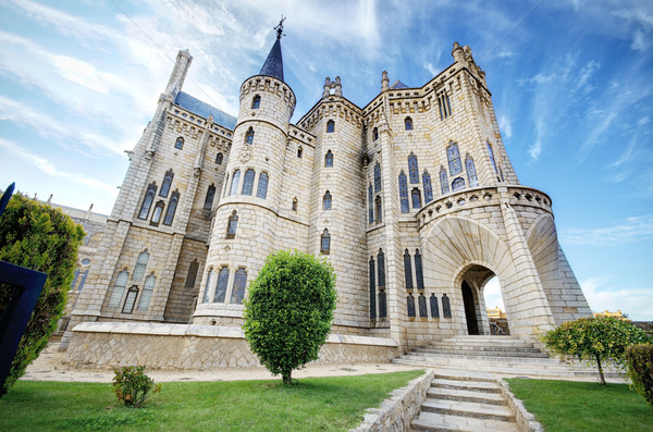 Stock photo: Famous landmark Astorga Epsiscopal Palace, in Astorga, Leon, Spain.