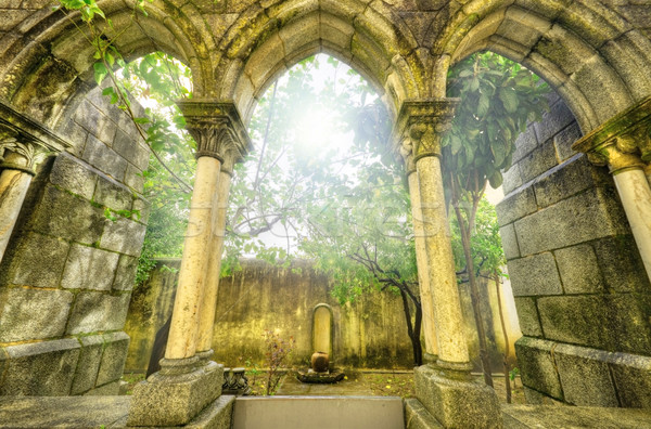 Ancient gothic arches in the myst. Fantasy landscape in Evora, P Stock photo © HERRAEZ
