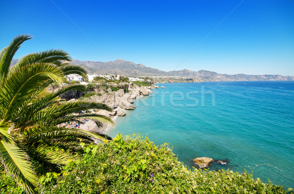 Nerja coastline landscape, famous touristic town in costa del sol, Málaga, Andalusia, Spain. Stock photo © HERRAEZ