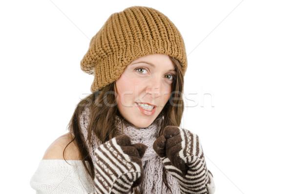 сердиться девушки белый изолированный портрет Сток-фото © HERRAEZ