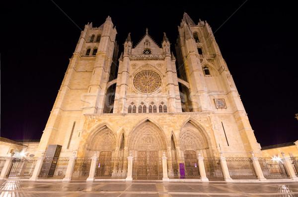 собора ночь Испания пейзаж темно статуя Сток-фото © HERRAEZ
