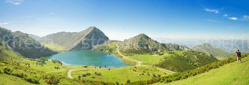 Панорама озеро Испания небе дерево трава Сток-фото © HERRAEZ
