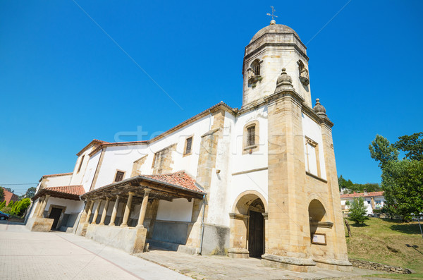Scenic view of an ancient church in the touristic village of Lastres, Asturias, Spain. Stock photo © HERRAEZ