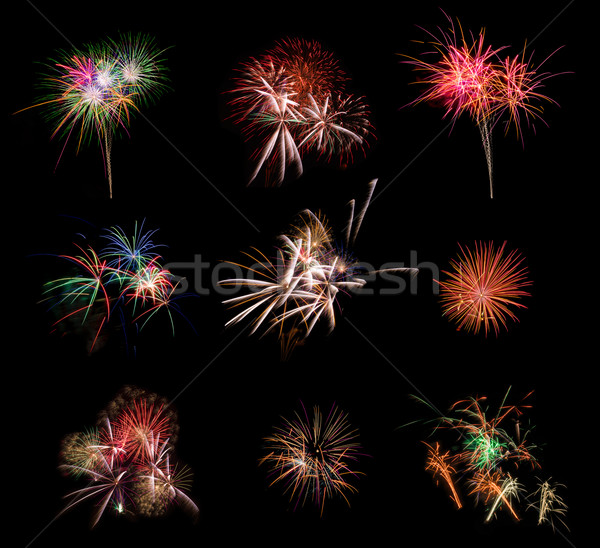 Beautiful firework set on black background. Very large resolution picture. Stock photo © HERRAEZ