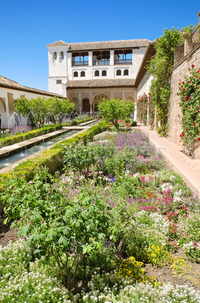 Fountain and gardens in Alhambra palace, Granada, Andalusia, Spain. Stock photo © HERRAEZ