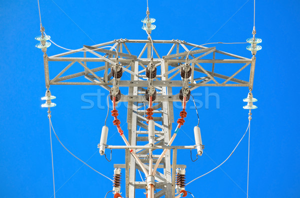 Detailed high voltage power line over brightly blue sky. Stock photo © HERRAEZ