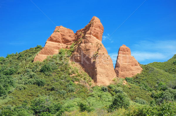 Red Peaks in Las Medulas, ancient roman mines in Leon, Spain. Stock photo © HERRAEZ