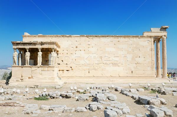 Famous cariathides temple in the Acropolis, Athens, Greece. Stock photo © HERRAEZ