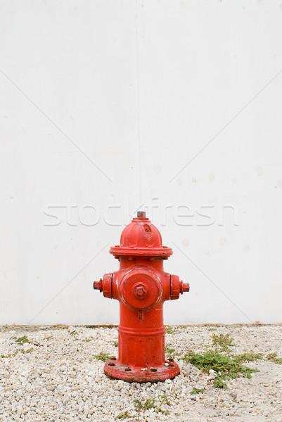 Rood witte hek brand muur veiligheid Stockfoto © HerrBullermann
