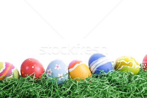 Húsvéti tojások csetepaté köteg durva fehér terv Stock fotó © HerrBullermann