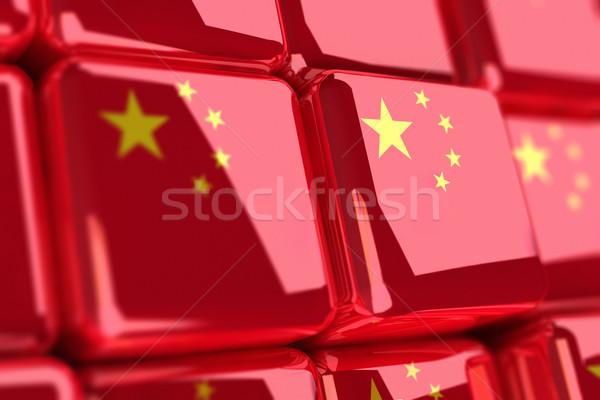 Kínai renderelt kép zászlók doboz csillag piros Stock fotó © HerrBullermann