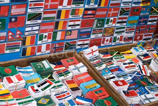 Szett nemzetközi zászlók dobozok piac Ázsia Stock fotó © HerrBullermann