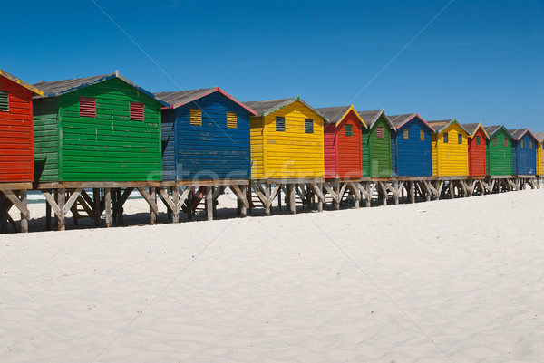 Multi colored beach huts Stock photo © HerrBullermann