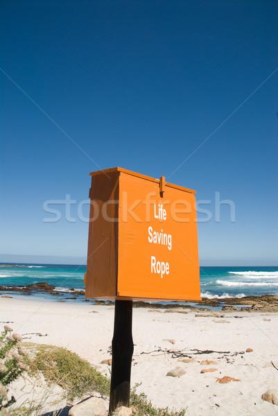 Leven besparing touw vak strand oranje Stockfoto © HerrBullermann