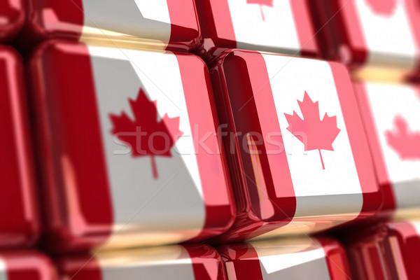 Nagy köteg kockák kanadai zászló doboz fehér Stock fotó © HerrBullermann