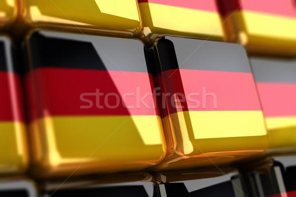 Nagy köteg kockák doboz fekete citromsárga Stock fotó © HerrBullermann