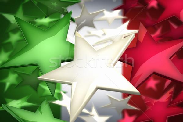 Olasz csillagok renderelt kép olasz zászló épít zászló Stock fotó © HerrBullermann